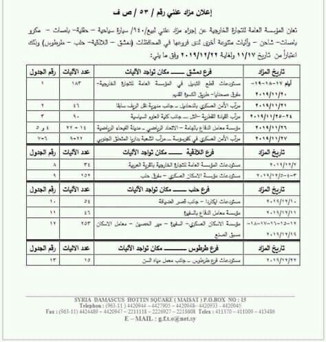 هام لأهالي دمشق وحلب واللاذقيه وطرطوس 940 سياره للبيع في مزاد علني